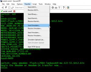 Cisco IOS-ის აღდგენა Xmodem-ის და Console-ის
