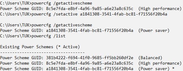 powercfg /setactive